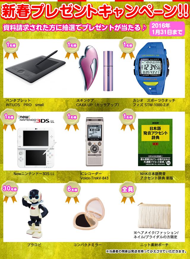 新春プレゼントキャンペーン! 9種類の商品が当たる!